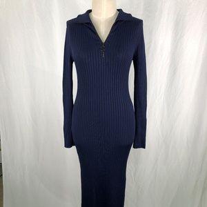 BCBGMAXAZRIA Small Navy Blue Ribbed Dress Body Con